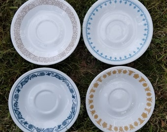 Corelle by Corning Lot of 4 Saucers Woodland Snowflake Butterfly Old Town Blue