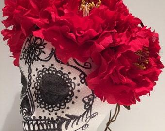 Day of the Dead headbands- Mexican Flower Crown- Halloween- Peony - Festival wear- Festival Wear- Wedding- Red Flower- Hippie- Boho