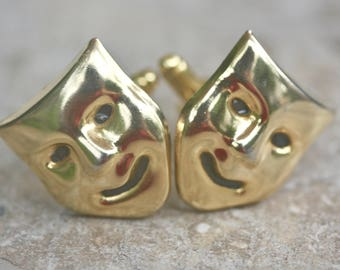 Cuff Links, Gift for Him, Unisex, Gold, Drama Mask, Tragedy, Comedy, Stage, Figural, Tuxedo, Repurposed,Vintage, Groom, Jennifer Jones, OOAK