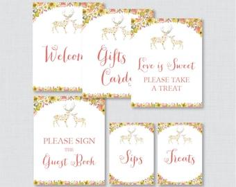 Woodland Bridal Shower Table Signs - Printable Whimsical Flower Deer Bridal Shower Decorations - Welcome Sign, Favors Sign, etc 0022