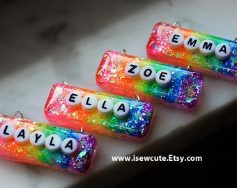 BFF Name Necklace, Personalized Custom Girl Name Jewelry Monogram Pendant Rainbow Glitter Word Necklace, Gift for Girl, handmade by isewcute