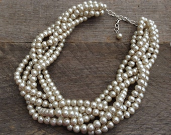 Champagne Pearl Statement Necklace Multi Strand Pearl Wedding Necklace Gift for Her on Silver or Gold Chain