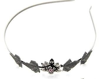 Flower with leaves headband, Swarovski crystals, Crystal headband, silver antiques, Crystal antique handmade jewelry pink, nickel free,