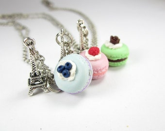 Pick 1 - French Macaron Necklace, Paris necklace, food jewelry, food necklace, Paris jewelry, friend gift for her, blueberry raspberry rose