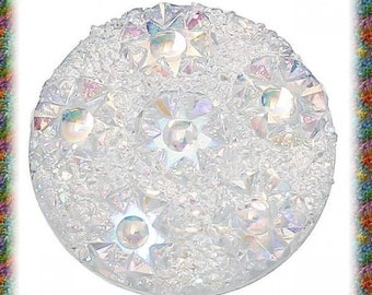 10 cabochons resin relief white 20 mm round