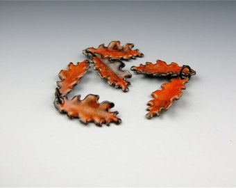 Enameled Extra Small Oak Leaf  / Sunset Orange Enamel / Made to order
