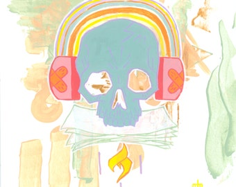Arc en ciel / 12 x 12 in. Impression d'art | Tableau de couleurs arc en ciel pastel goth hipster tête de mort