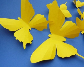 3D Wall Butterflies - 20 Yellow Butterfly Silhouettes, Home Decor, Nursery