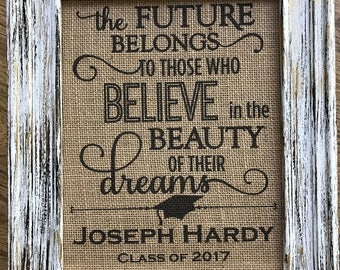 Graduation gift, High school graduation, College graduation, Happy Graduation, Personalized graduation gift, class of 2018, burlap print
