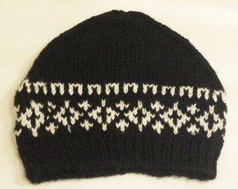 Knit Hat - Black and White