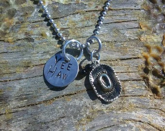 YEE HAW hand stamped pendant. Your choice of either Necklace or Keychain