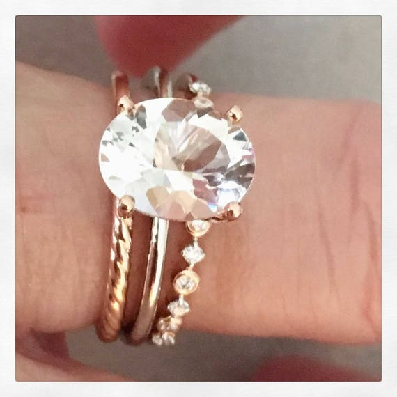 Goshenite Rose And White Gold Trio Engagement Set Engraved My Love