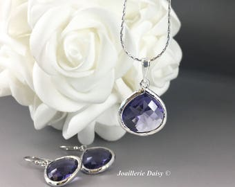 Bridesmaid Gift Amethyst Bridesmaid Jewelry Silver Necklace Set Purple Jewelry Maid of Honor Mother of Groom Gift Mother of Bride Jewelry