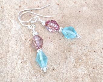Blue and pink drop/dangle earrings, Czech glass bead earrings, sterling silver drop earrings, Hill Tribe silver dangle earrings gift for her