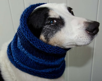 "Knit Dog Scarf/Cowl  Blue Size Medium -  15 Circumference with Stretch. 14"" long  Fits  up to 18"" Neck OOAK Dog Accesories * Dog Clothing"