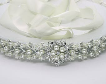 Wedding belt, Bridal dress sash, Wedding dress belt, Pearl bridal sash, crystal wedding sash, pearl Ivy Collection