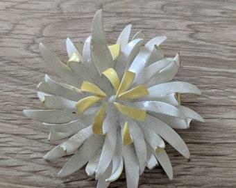 White & Yellow Enamel Flower Pin