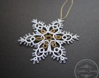 Hand tatted Christmas Snowflake XX