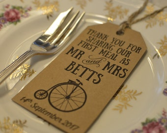 Vintage Bicycle Wedding Tags - Penny Farthing Wedding Tags - Vintage Travel Theme - First Meal Tags - Personalised Wedding Tags - Favour Tag