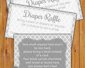 In Lieu of card, Book Baby Shower Invitation Inserts Instead of a card Diaper Raffle Combo Grey Quatrefoil Printable PDF--Instant Download