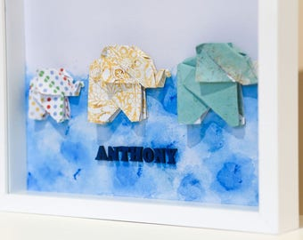 Baby boy, nursery decor, personalized, baby shower gift, baptism, elephant gifts, watercolour, origami, shadow box, wall decor, home decor