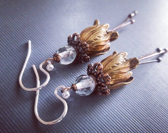 20% off Brass and Aquamarine Tulip Earrings