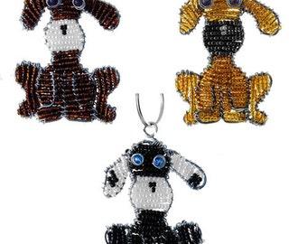 Beaded dog Keychain or Zipper Pull - African beaded animal keyring