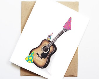 Guitar birthday card etsy birthday card finch on acoustic guitar animal birthday animal card cute greeting bookmarktalkfo Choice Image