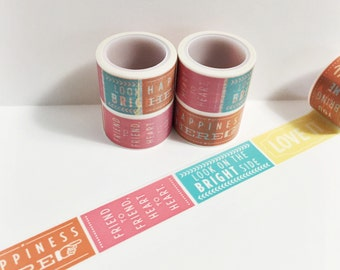 Bright Colorful Quote Washi Happiness Happy Day Love It Smile Laugh Inspiration Washi Tape 5.5 yards 5 meters 25mm