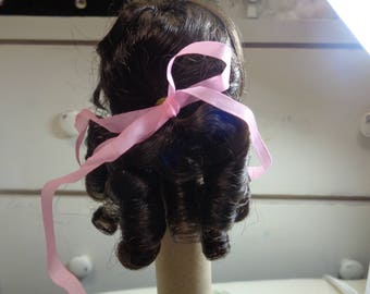 Dark Brown 6-7 Inch Doll Wig-  Set in Ringlets- NEW old stock- Vintage doll wig