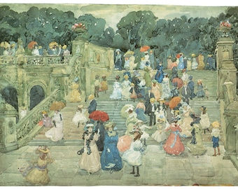 Hand-cut wooden jigsaw puzzle. CENTRAL PARK. Maurice Prendergast. Impressionist. Impressionism. Wood, collectible. Bella Puzzles.