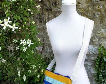 Glitter and blue stripe - shoulder handbag