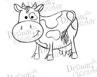 Cute Cow Digital Stamp Art/ KopyKake Image- S1-COW
