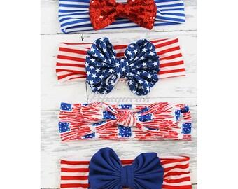 4th of July Baby Headband, Baby Headwrap, Baby Headband, 4th of July Headband, Baby knot headband, Girls Headband, Girls Headwrap, ,