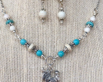 Handmade turquoise, white and silver beaded necklace and earring set with rooster charm pendant