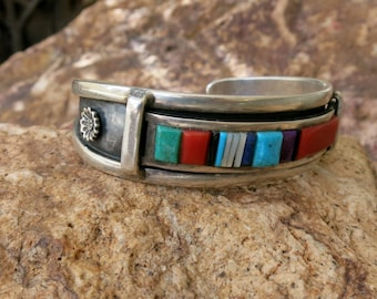 """CORAL & TURQUOISE BRACELET, Vintage, Channel Inlay, Signed, Stamped """"Sterling"""""""