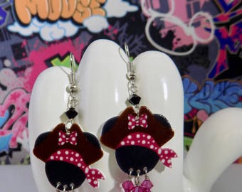Minnie Mouse Polka Dotted Pirate Dangle Earrings