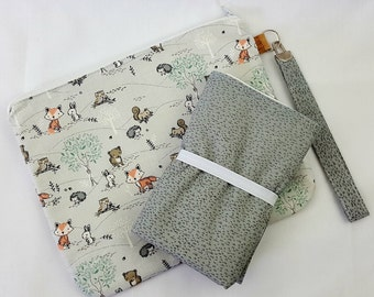 Little friends allover print nappy wallet with matching change mat set, nappy wallet, nappy clutch, diaper wallet, travel mat