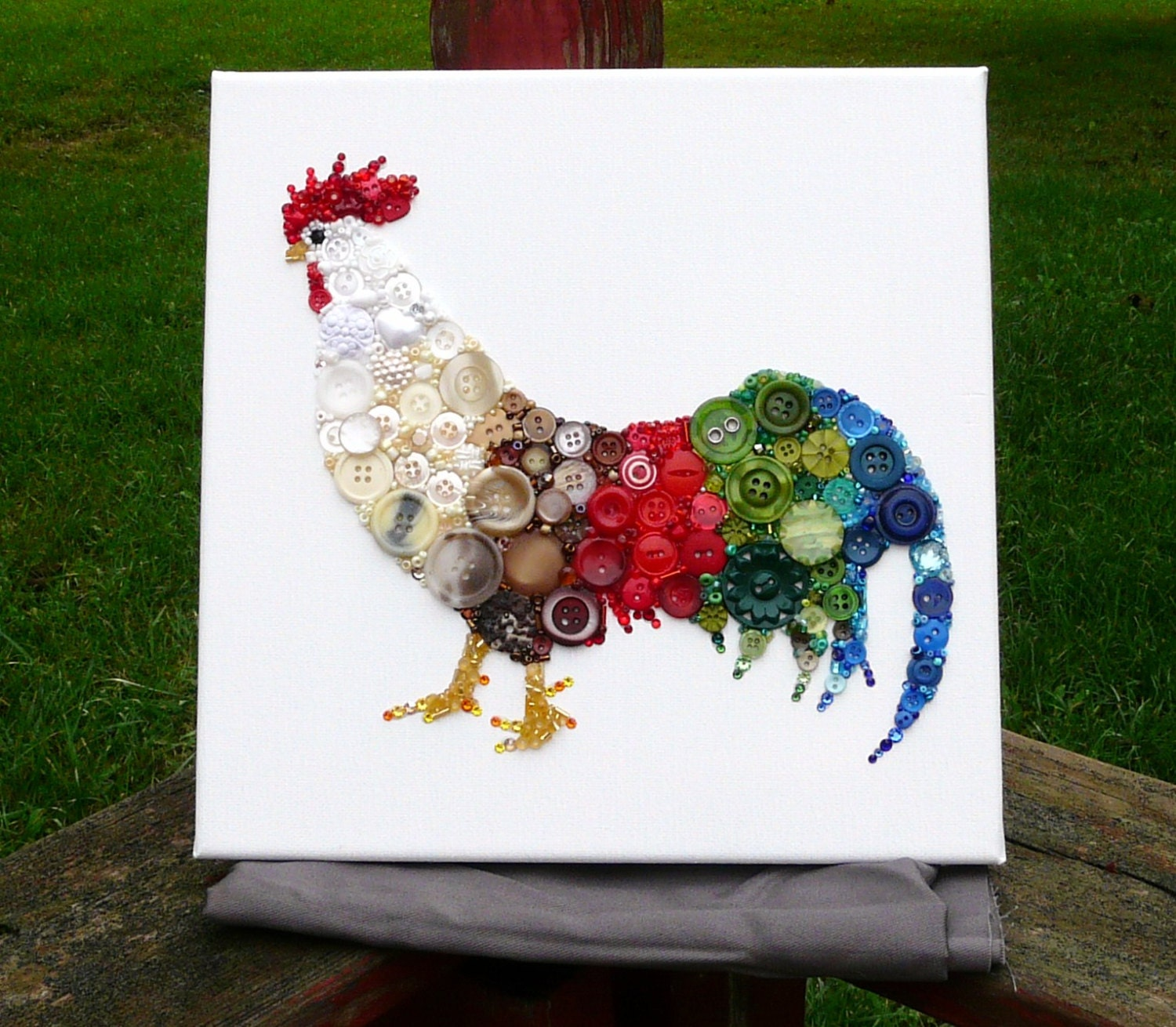 Rooster Button & Bead Wall Art with Swarovski Crystals