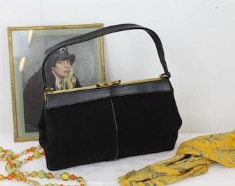 Vintage 'Mac' Handbag/1950's Handbag/Black Faux Suede Bag/Norwich Bag Maker/SALE (Ref1935A)
