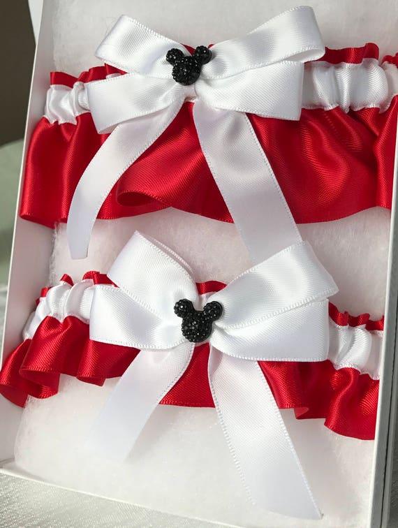 MOUSE EARS Wedding Garter Bridal Garter Keepsake and Tossing Garter Set White  on Red with Black Mouse