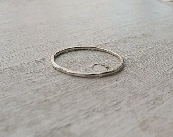 1mm Hammered Textured Ultra Thin Sterling Silver Stacking Ring  - custom made to order - Ready to Ship