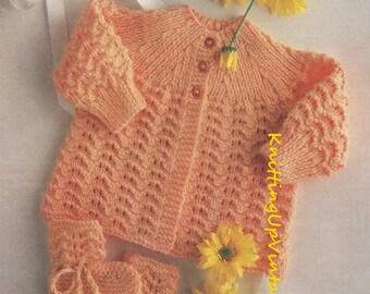 Baby Knitting Pattern pdf Matinee Coat & Bootees