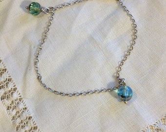 925 Vintage Silver Bracelet w/ Blue/Green Dangling Glass Beads