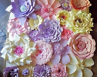 Paper flowers wall decor wedding decor home decor paper flowers wall decor wedding decor home decor paper flower backdrop baby junglespirit Images