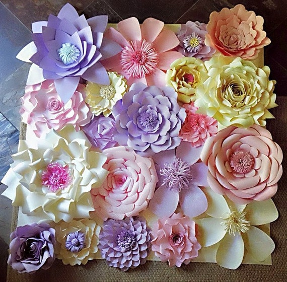 Paper flowers wall decor wedding decor home decor paper like this item mightylinksfo Image collections