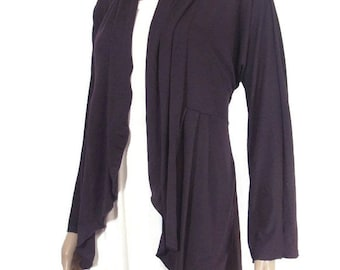 Womens Cardigan with Pockets /Jacket-Eco Friendly,Hand Dyed Organic Cotton/Bamboo Jersey- Custom Size and Color-Made to Order-XXS thru Large