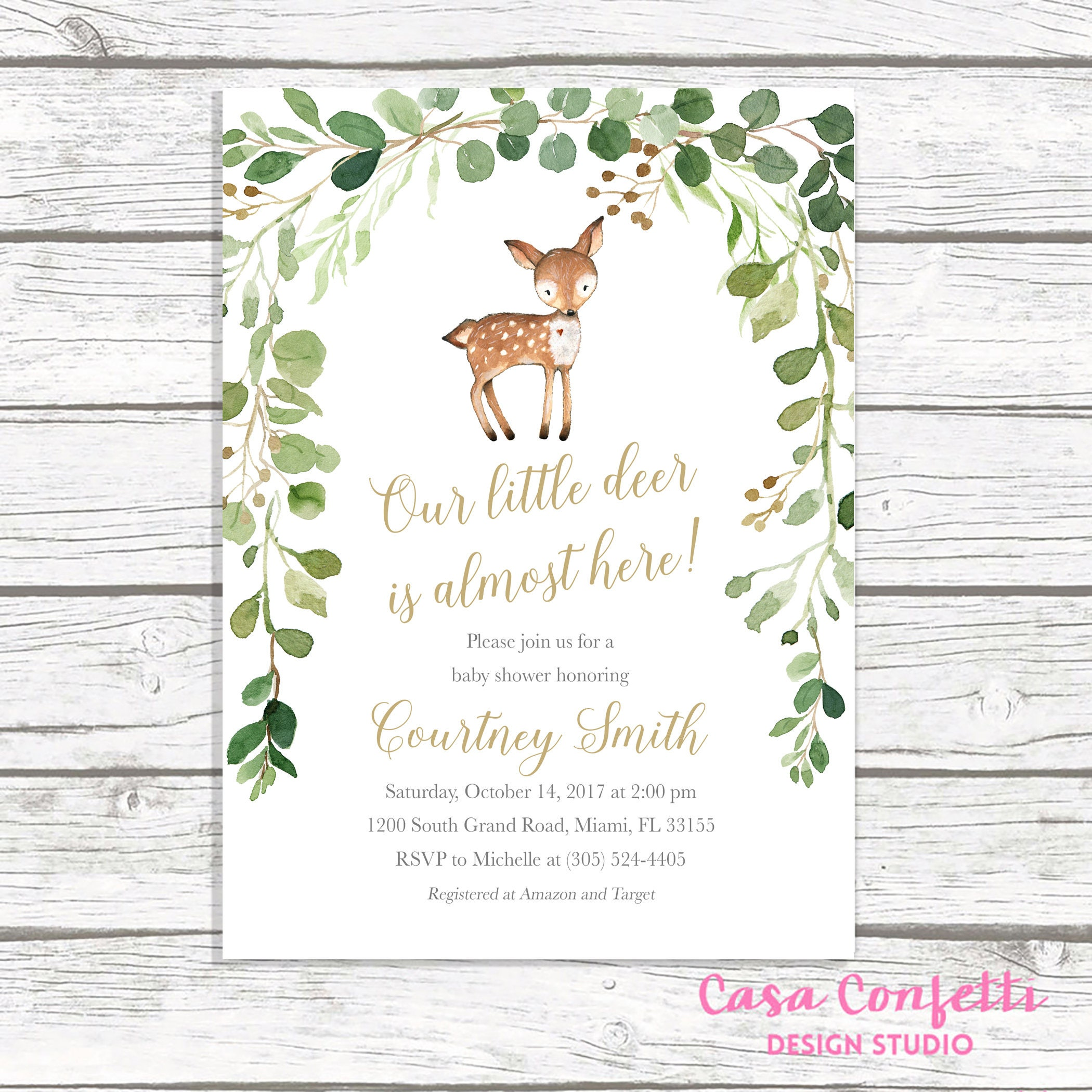 Deer Baby Shower Invitation Boy Baby Shower Invitation Woodland