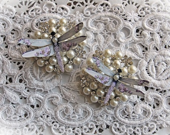 Reneabouquets Dragonfly Set - Shabby Sugar Plum Roses Premium Paper Glitter Glass Dragonflies