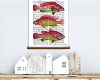 Fishing gift - Red & Yellow Fish trio - Fish print Fish art Fathers day Cabin decor Lake house decor Mens gift Nautical art Fish wall art